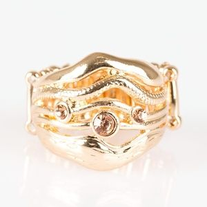 Gold Waves Stretch Band Ring
